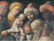 De drie koningen aanbidden het kindje Jezus