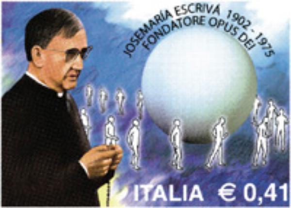 El primer sello italiano en euros, dedicado a Josemaría Escrivá