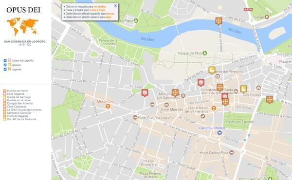Opus Dei - Mapa interactivo: san Josemaría en Logroño
