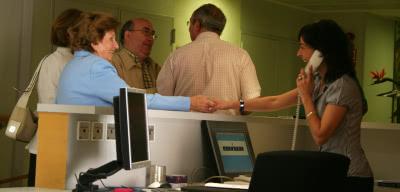 La recepción del Centro de Cuidados.