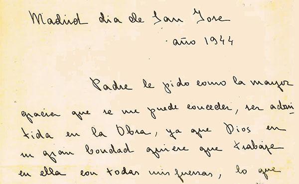 Carta de Guadalupe para a admissão no Opus Dei