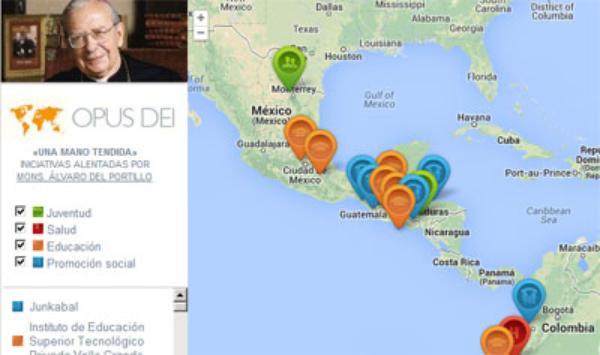 Mapa con algunas iniciativas sociales y educativas alentadas por don Álvaro