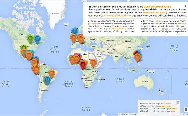 Opus Dei - Mapa de iniciativas sociales promovidas por Álvaro del Portillo