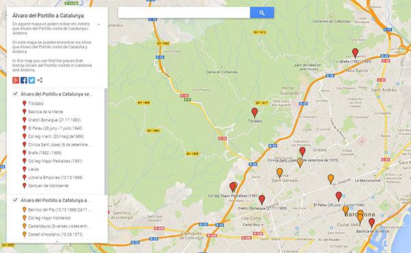 Opus Dei - Mapa de les estades d'Álvaro del Portillo a Catalunya i Andorra