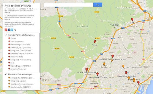 Mapa de les estades d'Álvaro del Portillo a Catalunya i Andorra