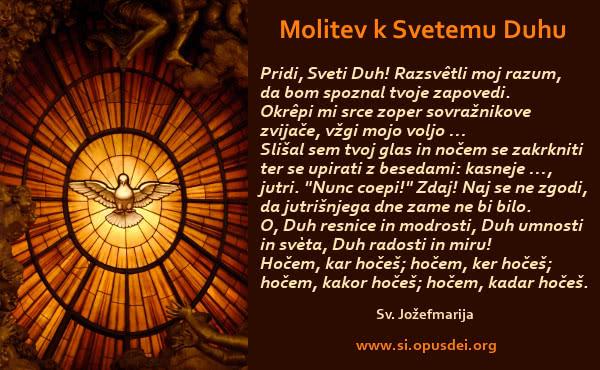 Opus Dei - Molitev k Svetemu Duhu