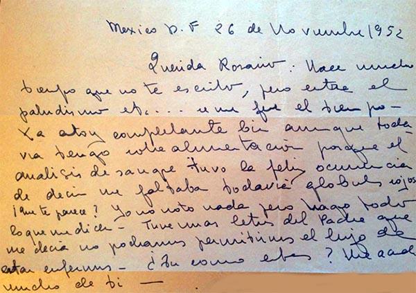 Lettre de Guadalupe à Rosario Orbegozo le 26 noviembre 1952