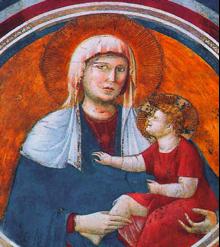 École de Giotto, Madone avec l'Enfant au sourire (XIVe siècle), Basilique Saint-François, Assise.