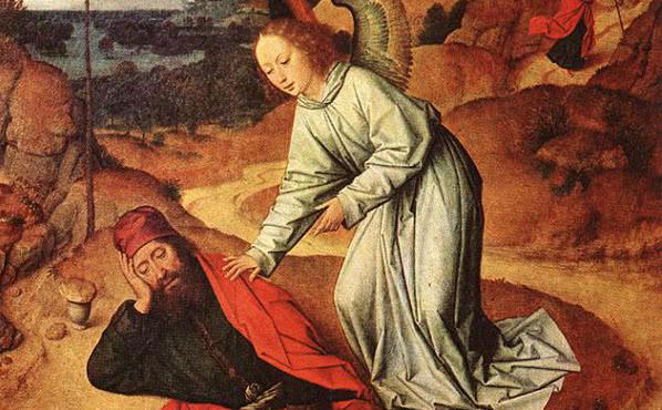 Elias, desejando morrer, é despertado por um anjo.