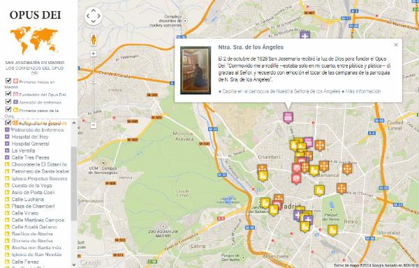 """Mapa interactivo: """"San Josemaría en Madrid. Los comienzos del Opus Dei"""""""