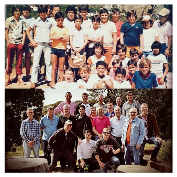 Alguns dos sócios do Clube Atlas, há 40 anos e nos dias de hoje