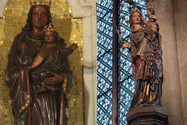 Esq: Our Lady of Willesden (Inglaterra). Direita: A Mailänder Madonna (Madonna de Milão) é uma escultura gótica que se encontra na capela do Santíssimo da Catedral de Colônia
