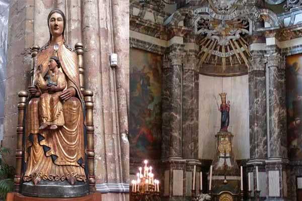 Duas imagens de Nossa Senhora veneradas na Bélgica: Sedes Sapientiae (Lovaina) e Regina Pacis (Bruxelas)
