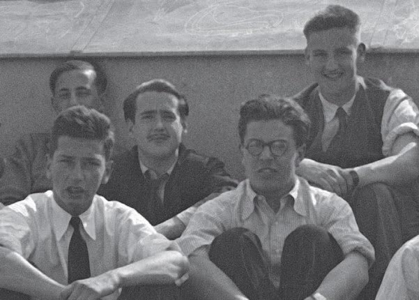 Emiliano Amann, with other residents at DYA in Madrid, on the terrace, in May 1936. Emiliano is the first on the right.