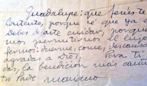 Hand-written letter of Saint Josemaria to Guadalupe Ortiz de Landázuri