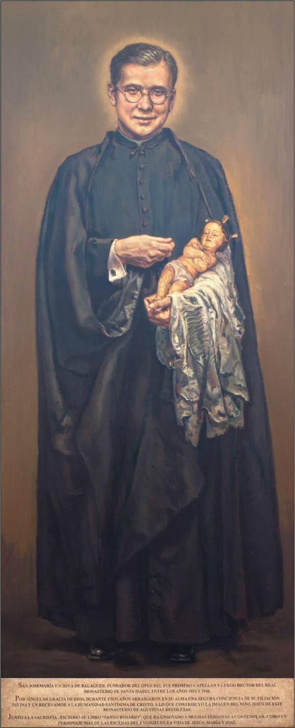 El cuadro de san Josemaría con el Niños Jesús del Real Monasterio de Santa Isabel es obra del pintor Ignacio Valdés de Elizalde.