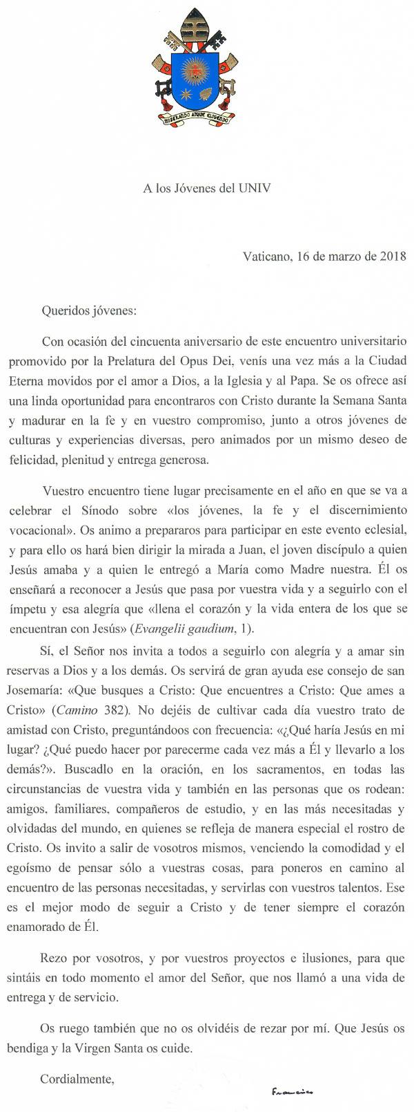 letter to UNIV
