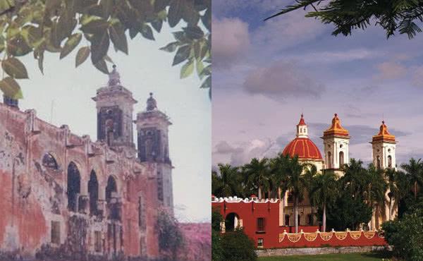 Montefalco: a sinistra, quando era in rovina; a destra, qualche anno fa.