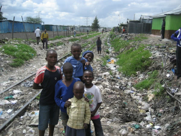 The Nairobi-Mombasa rail line runs through the huge slum district just east of Nairobi.