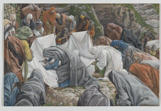 La Sainte Vierge embrasse le visage de Jésus avant son ensevelissement - James Tissot- entre 1886 et 1894, Brooklyn Museum (États-Unis)