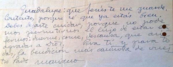 Lettre de saint Josémaria à Guadalupe, le 17 novembre 1952