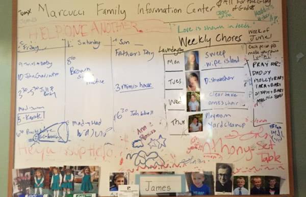 """La pizarra familiar, conocida por los niños como el """"Marcucci Family Information Center""""."""