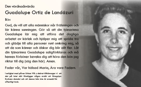 Be Guadalupe Ortiz de Landázuri om förböner