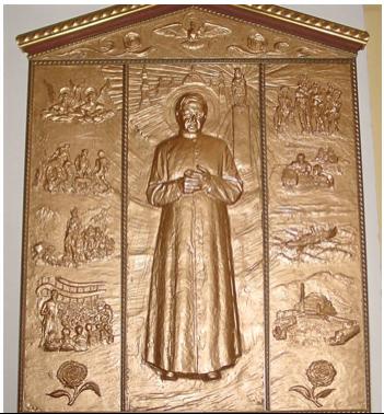 A. de la Herran - Ch. Piasecki, Triptyque de saint Josémaria (2002), église paroissiale Notre-Dame-de-l'Assomption, Saint-Tropez (Var)