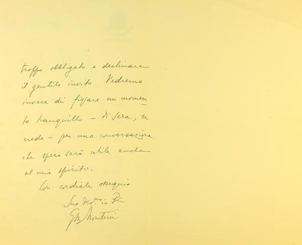 Tarjetón del entonces Mons. Montini para fijar una primera cita con Josemaría Escrivá