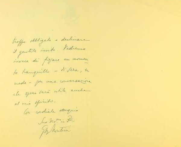 Kartka ks. prał. Montiniego aby umówić spotkanie z ks. Josemaríą Escrivą