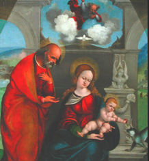 Ludovico Mazzolino, huile sur bois (La sainte Famille, vers 1525, au Louvre)