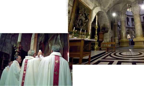 A poucos metros da Anastasis, um altar lembra a aparição do Senhor a Maria Madalena. No dia 18 de março, pela manhã, Dom Álvaro concelebrou a Santa Missa naquele altar.