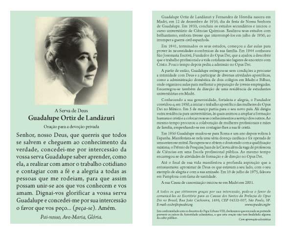 Oração a Guadalupe Ortíz de Landázuri