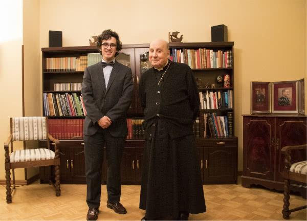 Santiago con el entonces prelado del Opus Dei, en el Centro de Helsinki.