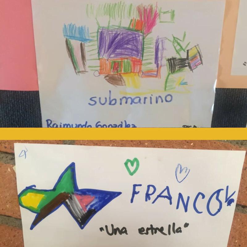 """Los """"regalos"""" de los alumnos de preescolar del Colegio Montemar y Albamar, en Viña del Mar, se expusieron en paneles murales de los colegios."""