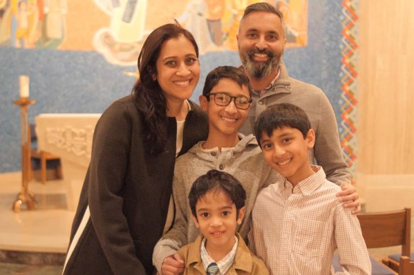 Zeena Lafeer and her husband Sameer Patel, joined by their sons (clockwise from center) Zayd, Rayn and Raif Patel.