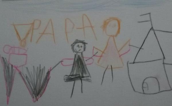 Uno dei disegni fatti dai bambini in visita ai papà detenuti.