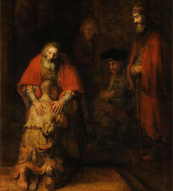 """Reprodução de """"O regresso do filho pródigo"""", de Rembrandt."""