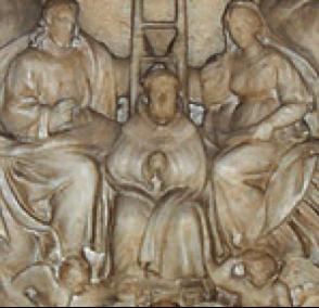 Alfonso Lombardi, relief en marbre, prédelle du mausolée de saint Dominique : L'entrée du saint au ciel (1532), Basilique Saint-Dominique, Bologne.