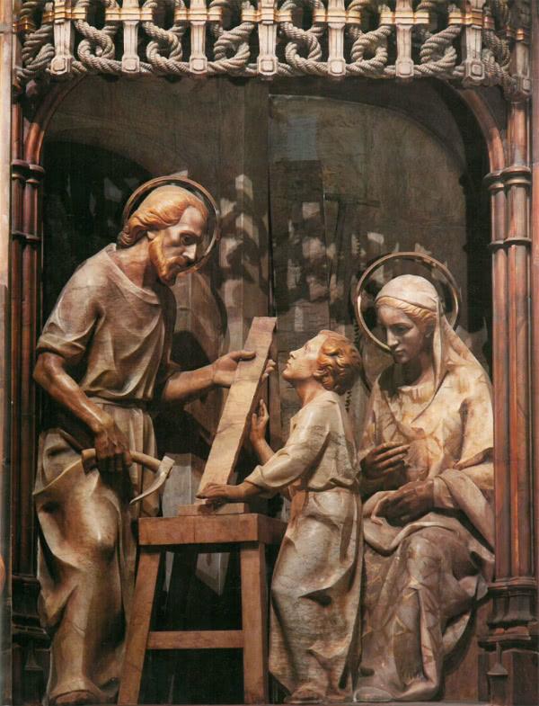 Imagen de la Sagrada Familia, del retablo del Santuario de Torreciudad (Huesca, España).