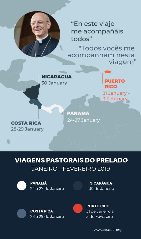 Itinerário da viagem pastoral que o prelado fará depois da JMJ.