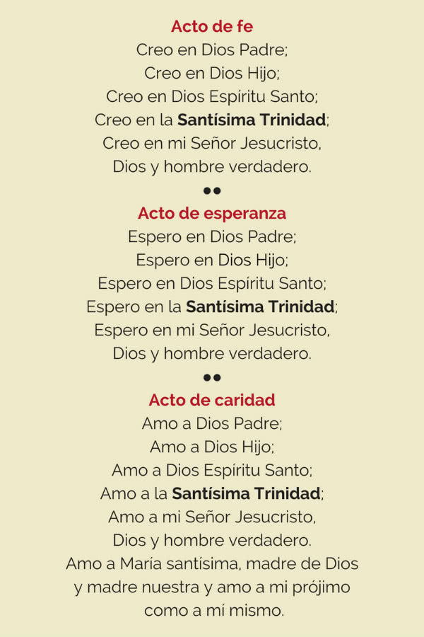 Una de las oraciones a la Santísima Trinidad del devocionario.