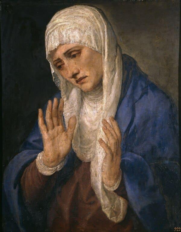 La Dolorosa con las manos abiertas. (Tiziano). Titian / Public domain