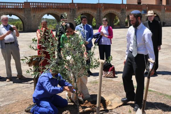 El rabino judío y monja hinduista durante la plantación del olivo en la explanada del santuario de Torreciudad.