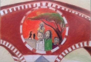 Quadro di una ragazza dell'Aquilia, Doriana B, che rappresenta un gruppo di bambini africani sotto l'albero Monkole, inscritti nel Ponte Pietra, famoso ponte di Verona.