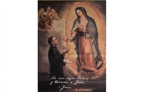 "Inscription by Bishop Javier Echevarria: ""Don't leave us Mother, and bring us to Jesus."""