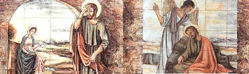 Primer dolor: Estando desposada su madre María con José, antes de vivir juntos se halló que había concebido en su seno por obra del Espíritu Santo (Mt 1,18). Primer gozo: El ángel del Señor se le apareció en sueños y le dijo: José, hijo de David, no temas recibir a María, tu esposa, pues lo concebido en ella es del Espíritu Santo. Dará a luz un hijo y le pondrás por nombre Jesús (Mt 1, 20-21).