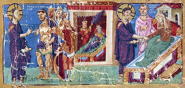 Manuscrito bizantino. Bibl. Nac. de Francia, años 879-882.