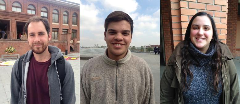 De izq. a der. Vicente Silva, Diego Donoso y Pilar Costabal, alumnos de la Universidad de los Andes.