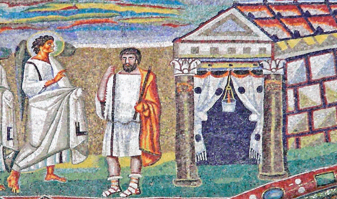 L'annonce de l'ange à Joseph - Anonyme, mosaïque de la basilique Sainte-Marie-Majeure (Ve siècle), Rome.